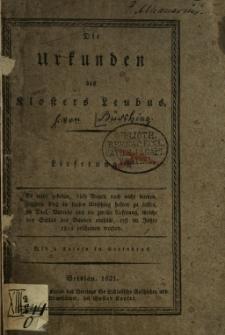 Die Urkunden des Klosters Leubus