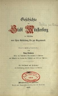 Geschichte der Stadt Münsterberg in Schlesien von ihrer Gründung bis zur Gegenwart