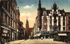 Opole : fragment rynku i ulica Koraszewskiego z widokiem na katedrę