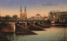 Opole : widok na prawą stronę mostu Stulecia, w dali m.in. katedra