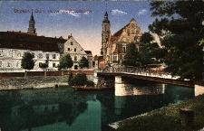 Opole : widok od strony zamku na m.in. most, kościół i budynek dzisiejszego archiwum