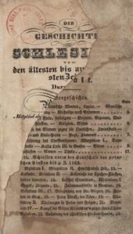 Die Geschichte Schlesiens von den ältesten Zeiten bis zur neuster Zeit