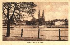 Opole : Odra, na przeciwległym brzegu fragment miasta z katedrą