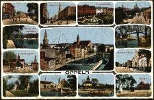 Oppeln : Ring mit Rathaus, Friedrichsplatz, Bahnhof Postamt, Bismarck Denkmal, Schlosspark