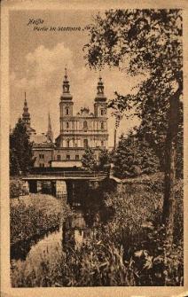 Nysa : kościół pw. Świętych Apostołów Piotra i Pawła od strony parku