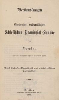 Verhandlungen der Siebenten ordentlichen Schlesischen Provinzial Synode zu Breslau : vom 28. November bis 9. December 1893