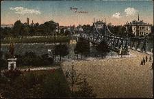 Most Odrzański i pomnik Wilhelma I, po prawej stronie willa Molla, właściciela garbarni