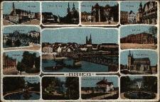 Brzeg : centralnie Most Odrzański, dookoła m.in. dworzec, poczta, Park Wolności z Restauracją Miejską, Park Centralny z rzeźbą łabędzia i postacią nagiego chłopca