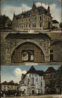 Brzeg : budynek Królewskiego Urzędu Pocztowego, portal bramy wjazdowej od strony dziedzińca zamkowego, fronton zamku i kościoła pw. św. Jadwigi