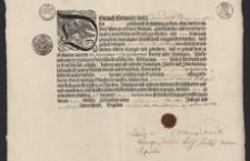 Patent rzemieślniczy wydany przez Magistrat Nowego Miasta na nazwisko Daniel Edlinger